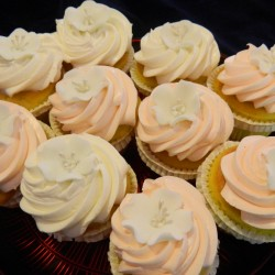 Cupcakes with Frosting and Flower Applique