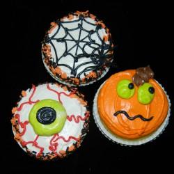 Eyeball, Spiderweb and Pumpkin Cupcakes #3