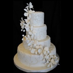 Four Tiered with Cascading Flowers and Applique