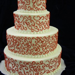 Four Tiered with Red Lace