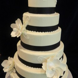 Six Tiered Fondant Cake with Flowers