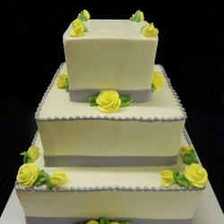 Three Tiered Square with Gray Ribbon