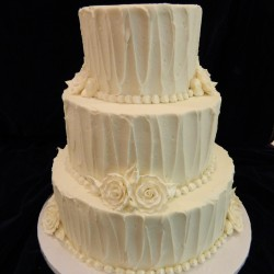 Three Tiered Traditional White with Flowers