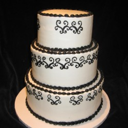 Three Tiered with Black Lace and Flowers