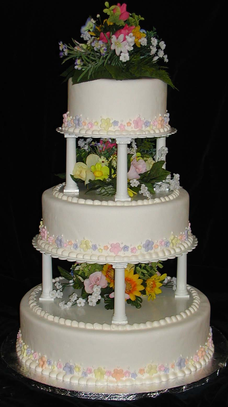 Three Tiered With Pillars And Flowers