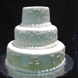 Three Tiered with Skyline and Monogramming