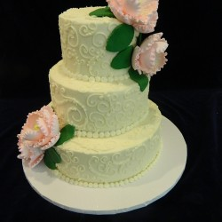 Three Tiered with Swirls and Peonies