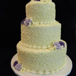 Three Tiered with Swirls and Purple Flowers