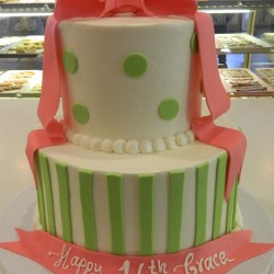 Two Tiered 16th Birthday Cake with Fondant Bow #6
