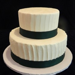Two Tiered Black and White Groom Cake