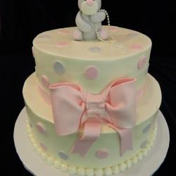 Two Tiered Fondant Elephant with Bow Cake #4