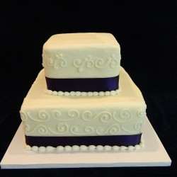 Two Tiered Square with Ribbon and Pearls