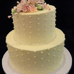 Two Tiered with Dots and Flowers