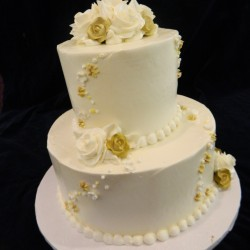 Two Tiered with Gold Roses