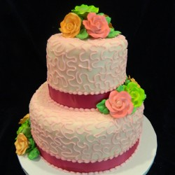 Two Tiered with Pink Fondant and Flowers