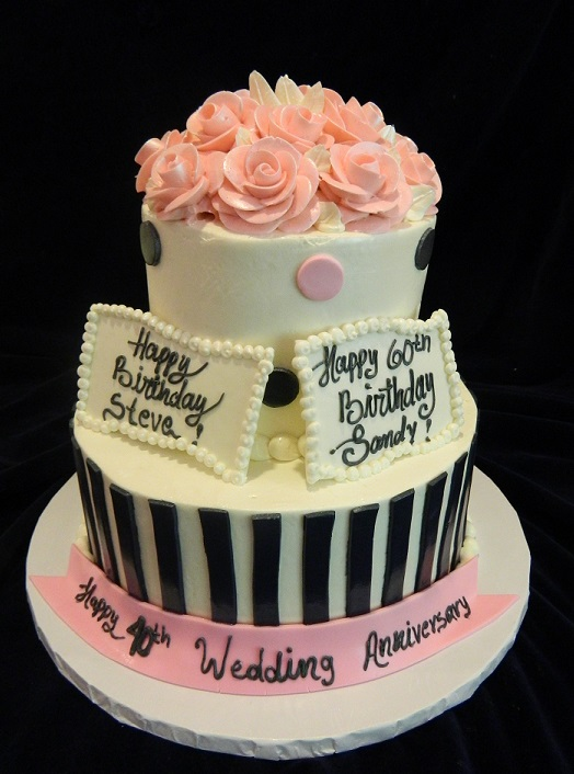Two Tiered With Stripes Dots And Flowers 6